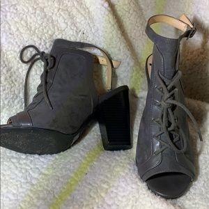 Grey. Tie up heels